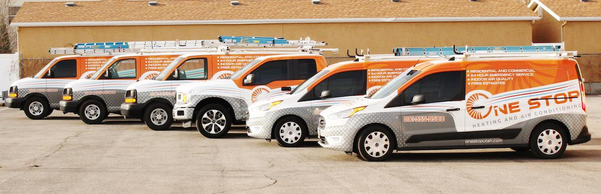 One Stop Utah Heating and Air Conditioning Service Vehicles